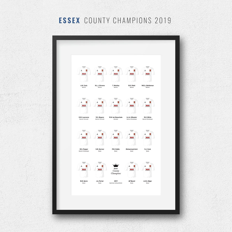 Essex Cricket 2019 County Champions Team Print