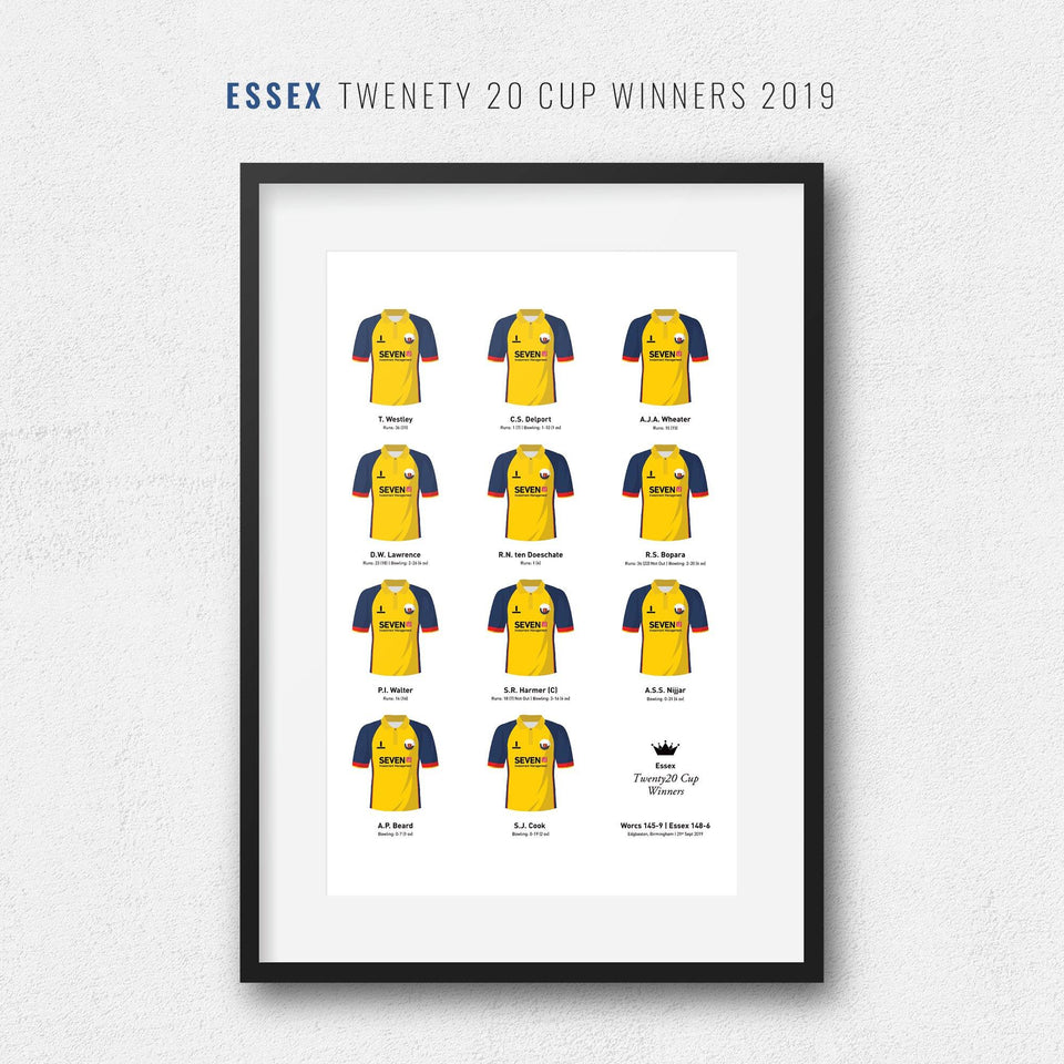 Essex Cricket 2019 Twenty20 Cup Winners Team Print