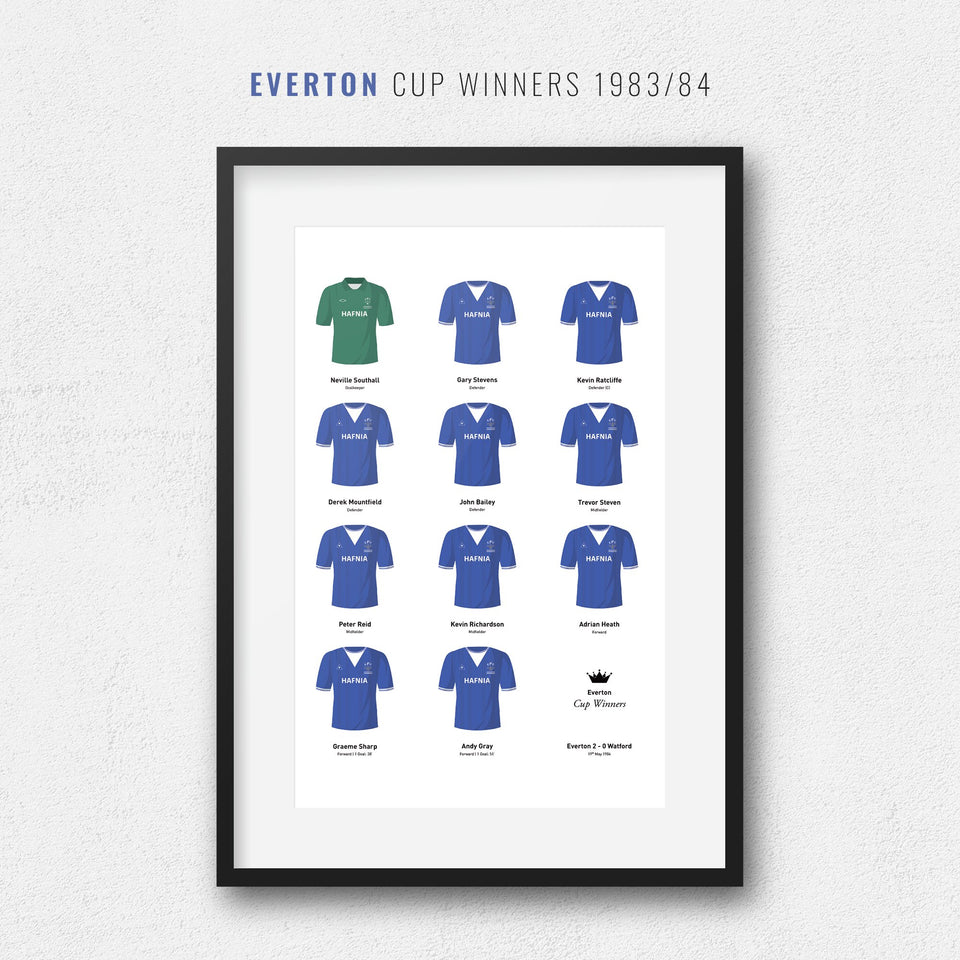 Everton 1984 Cup Winners Football Team Print - Good Team On Paper