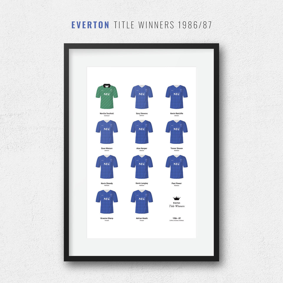 Everton 1987 Title Winners Football Team Print - Good Team On Paper