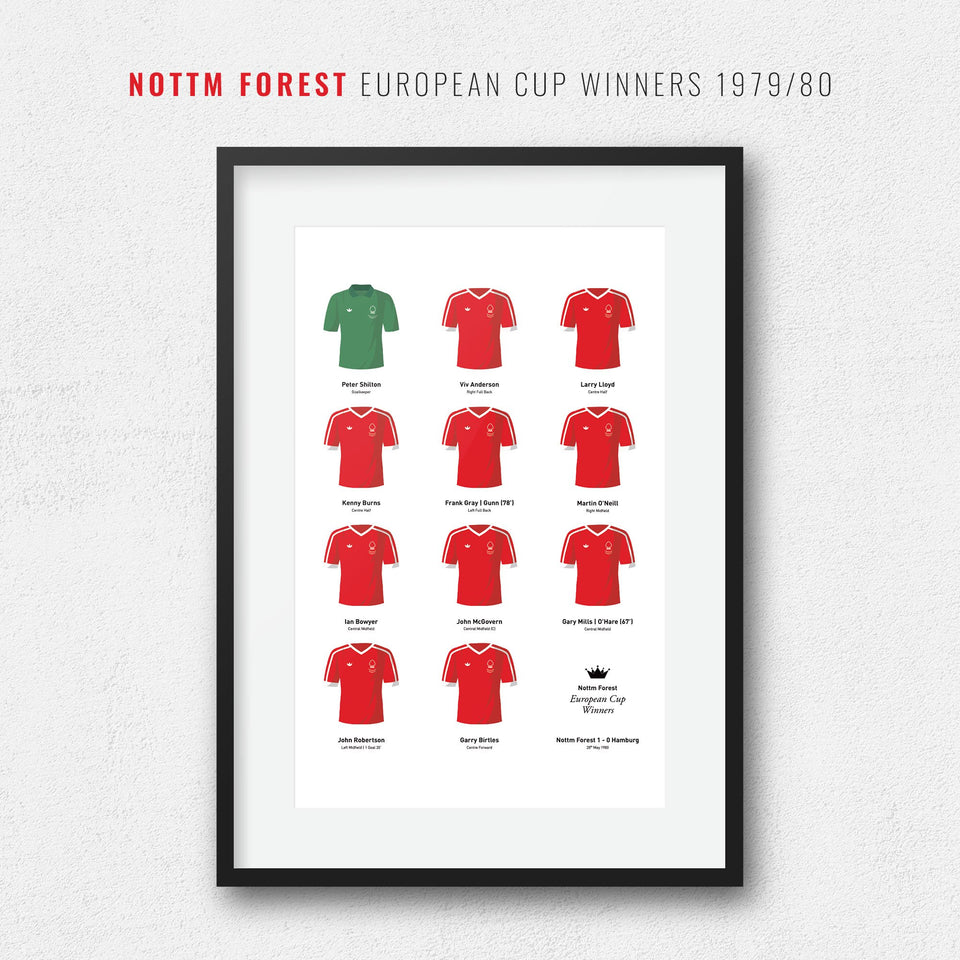Nottm Forest 1980 European Cup Winners Football Team Print - Good Team On Paper