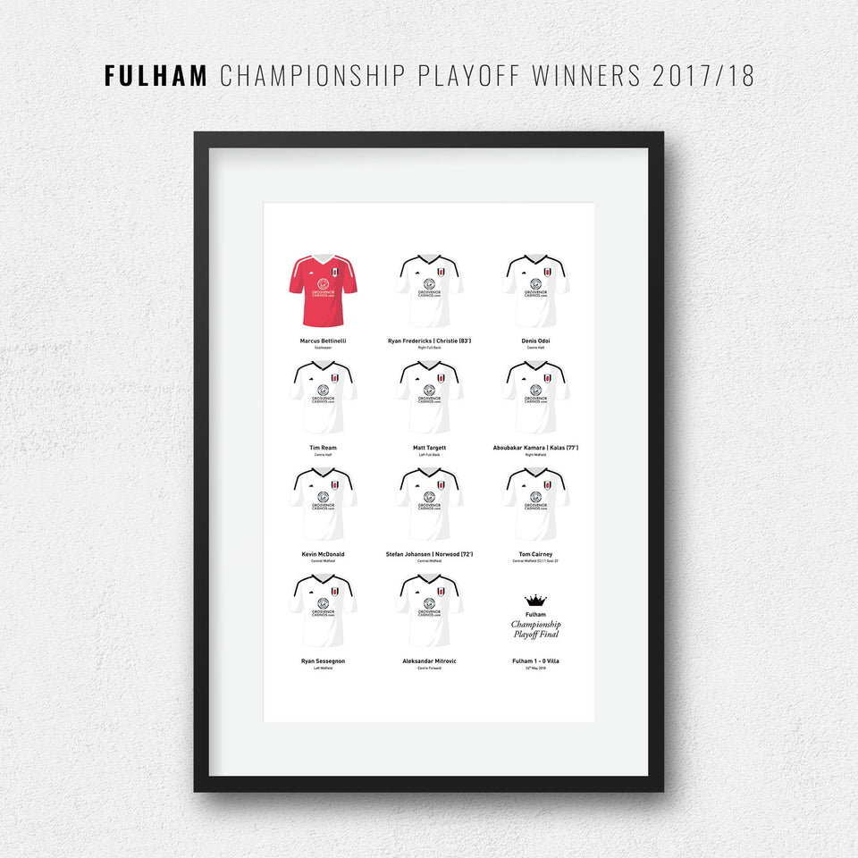 Fulham 2018 Championship Playoff Winners Football Team Print - Good Team On Paper