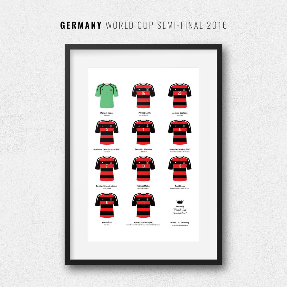 Germany 2016 World Cup Semi-Final Football Team Print - Good Team On Paper
