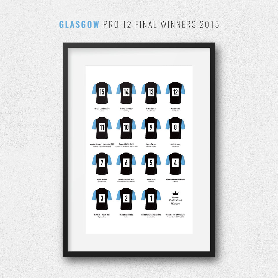 Glasgow Rugby Union 2015 Pro 12 Final Winners Team Print - Good Team On Paper