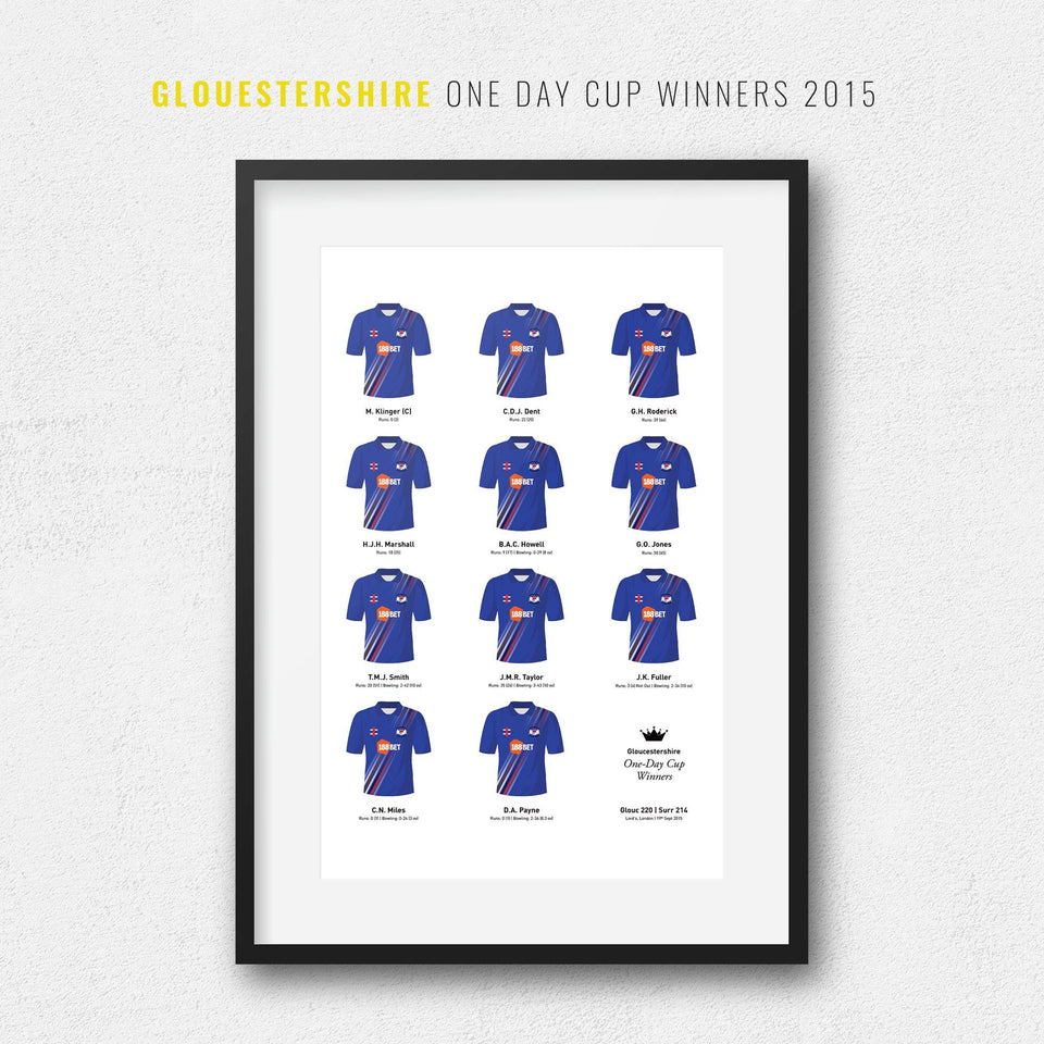 Gloucestershire Cricket 2015 One Day Cup Winners Team Print