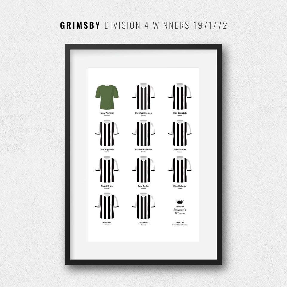 Grimsby 1972 Division 4 Winners Football Team Print