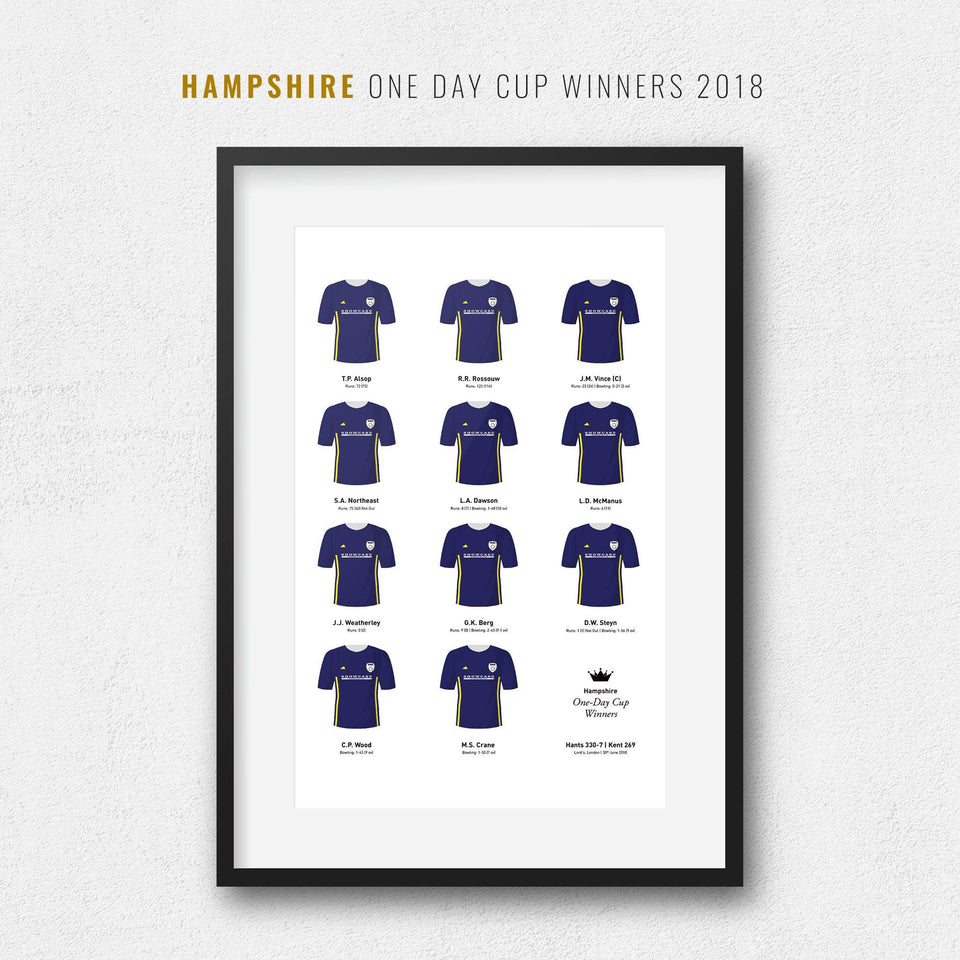 Hampshire Cricket 2018 One Day Cup Winners Team Print