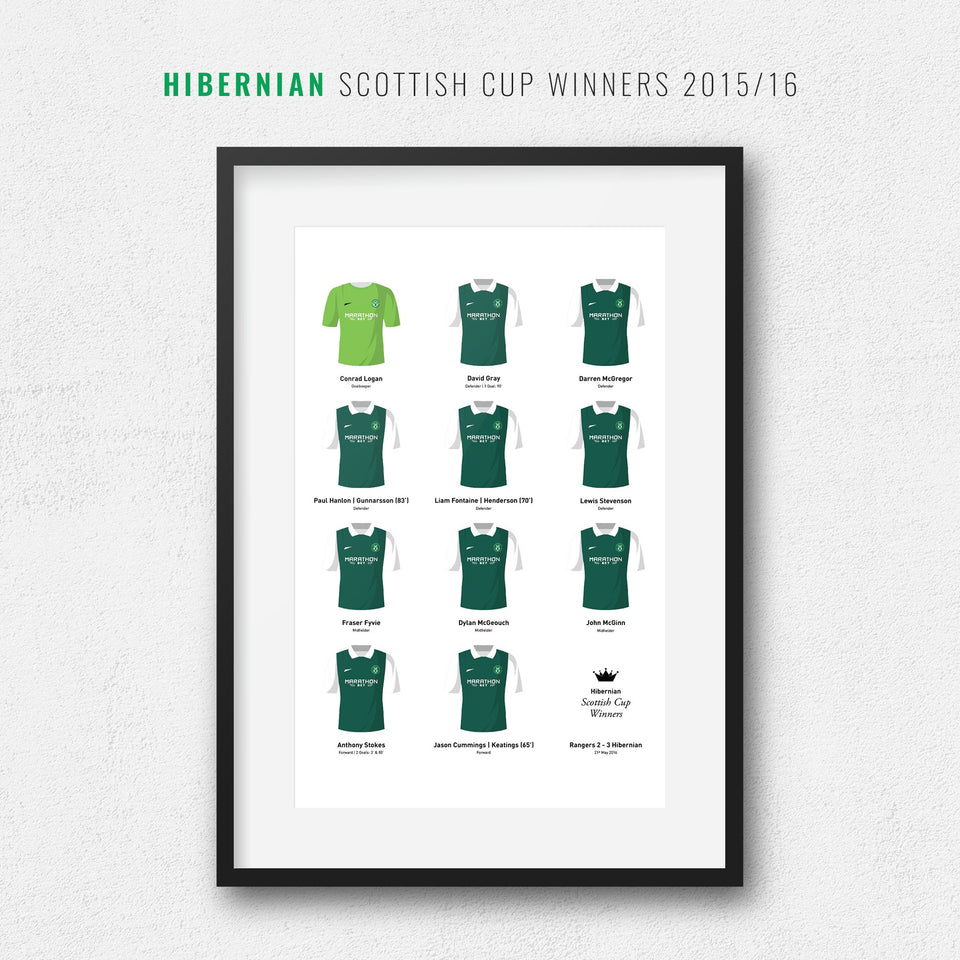 Hibernian 2016 Scottish Cup Winners Football Team Print - Good Team On Paper