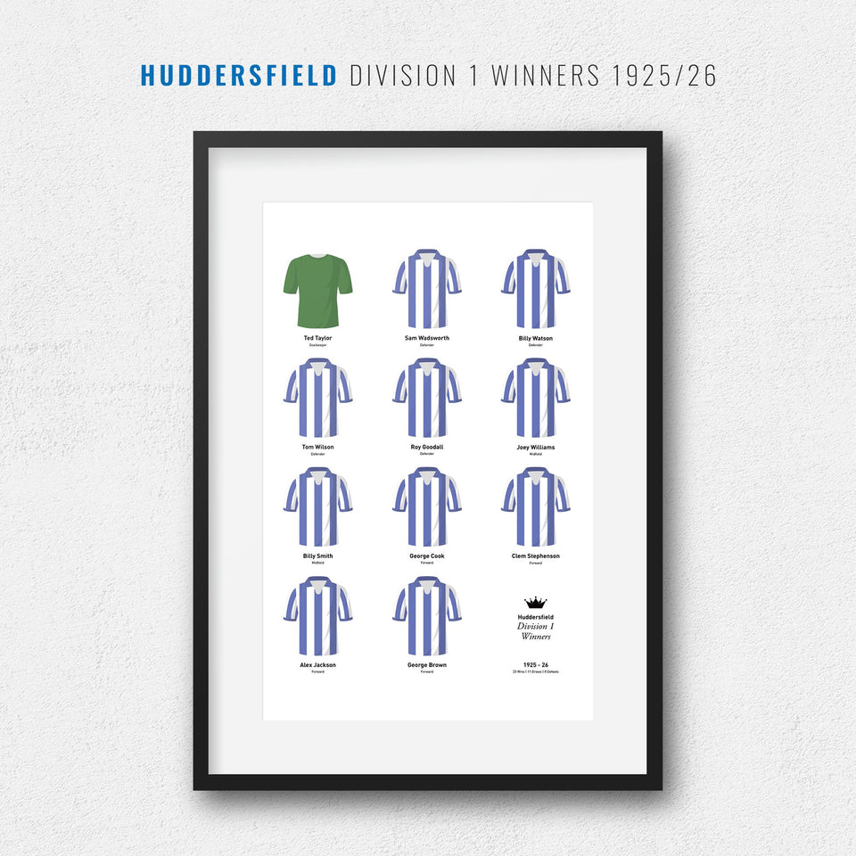 Huddersfield 1926 Division 1 Winners Football Team Print - Good Team On Paper