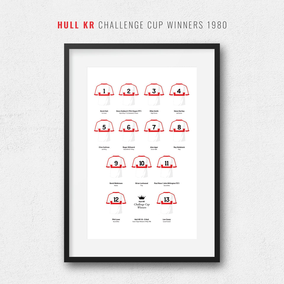 Hull KR Rugby League 1980 Challenge Cup Winners Team Print - Good Team On Paper