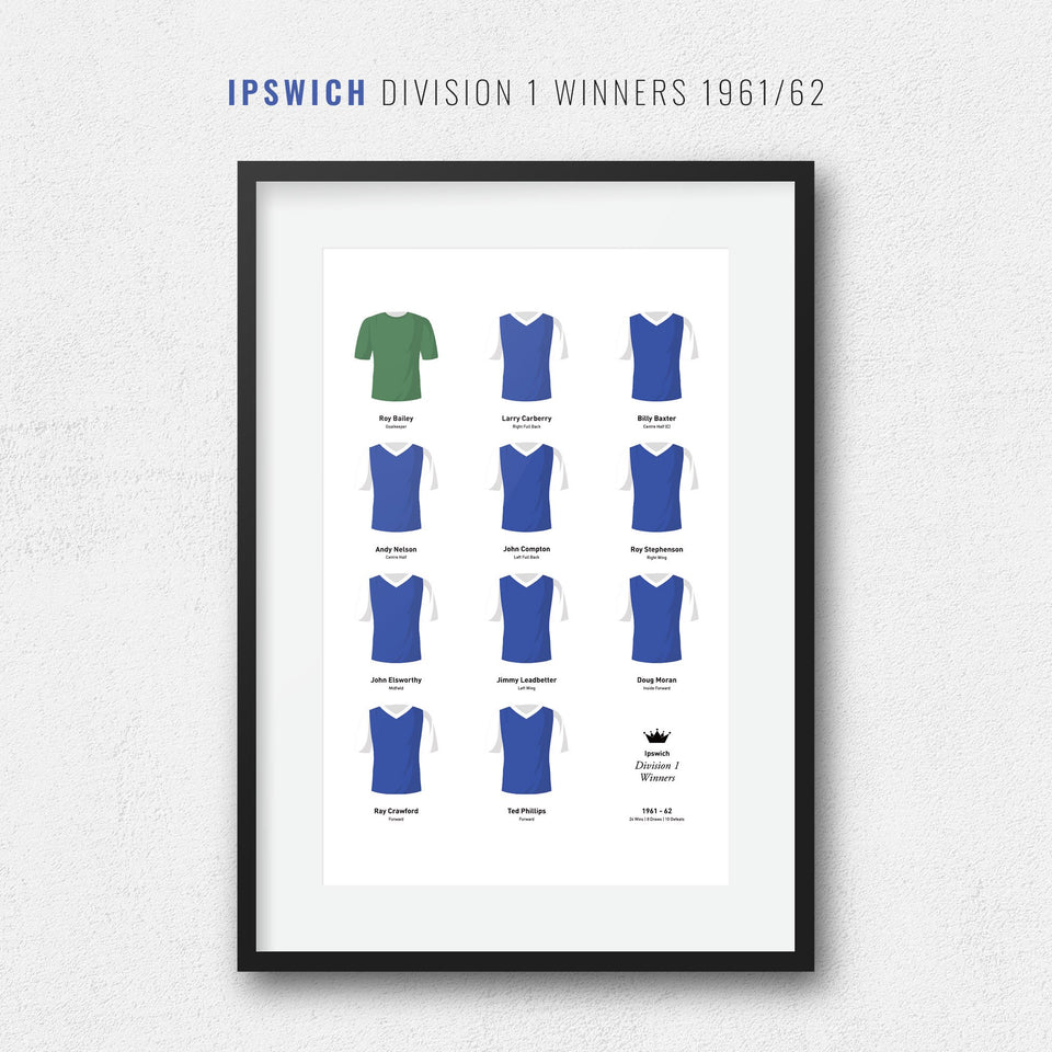 Ipswich 1962 Division 1 Winners Football Team Print - Good Team On Paper