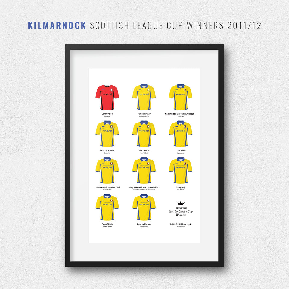 Kilmarnock 2012 Scottish League Cup Winners Football Team Print - Good Team On Paper
