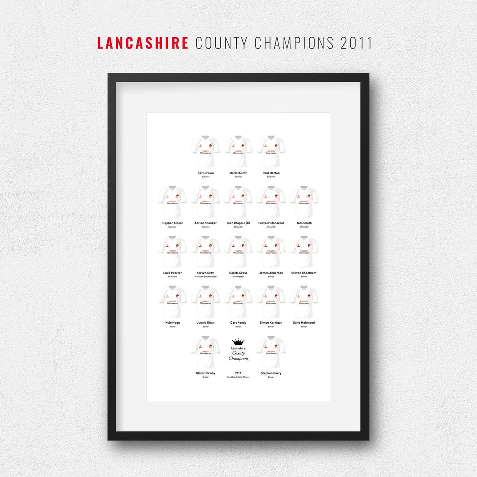 Lancashire Cricket 2011 County Champions Team Print