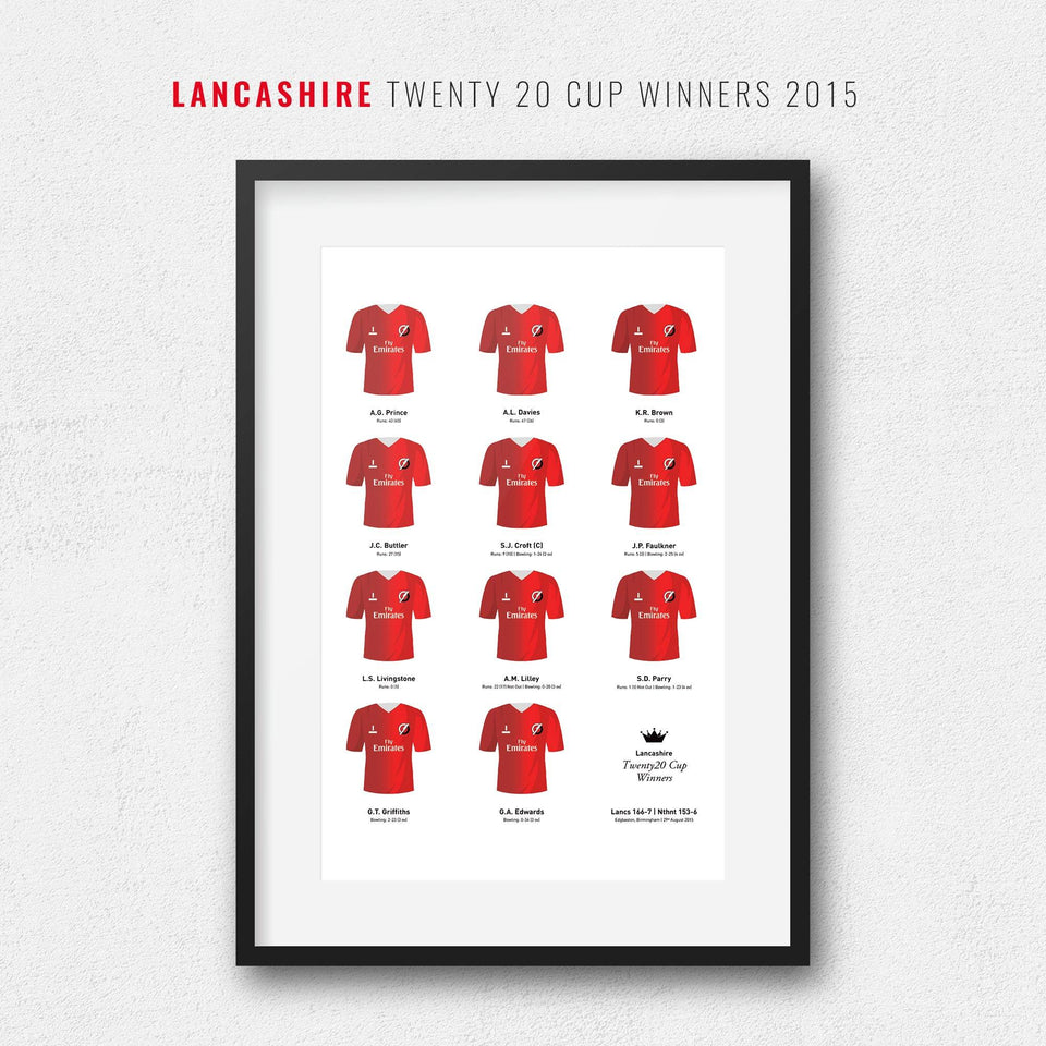 Lancashire Cricket 2015 Twenty20 Cup Winners Team Print