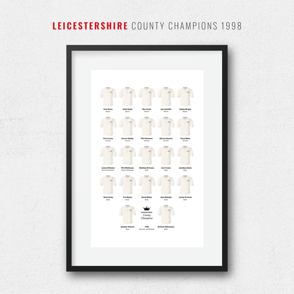 Leicestershire Cricket 1998 County Champions Team Print