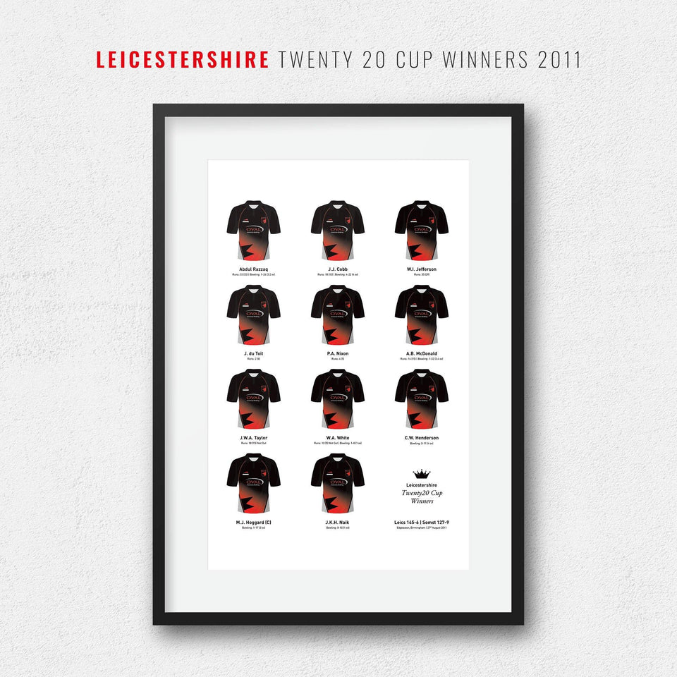 Leicestershire Cricket 2011 Twenty20 Cup Winners Team Print