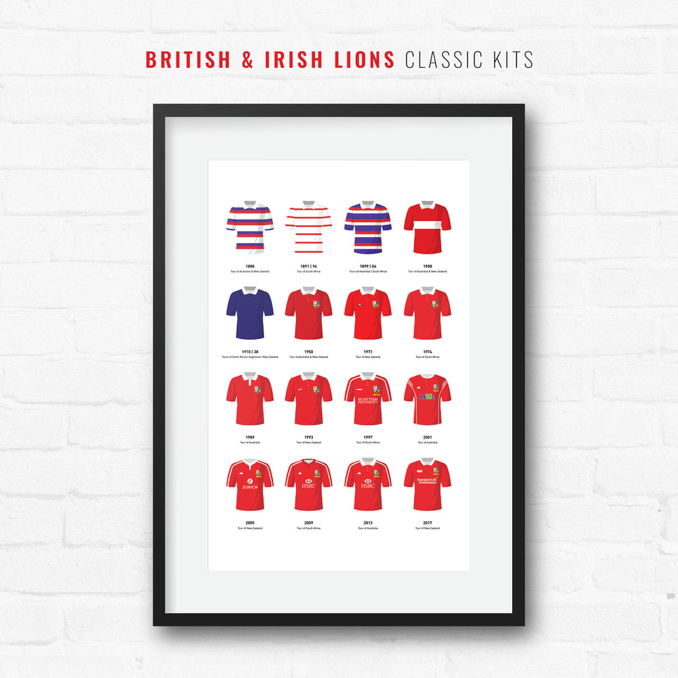 Lions Classic Kits Rugby Union Team Print - Good Team On Paper