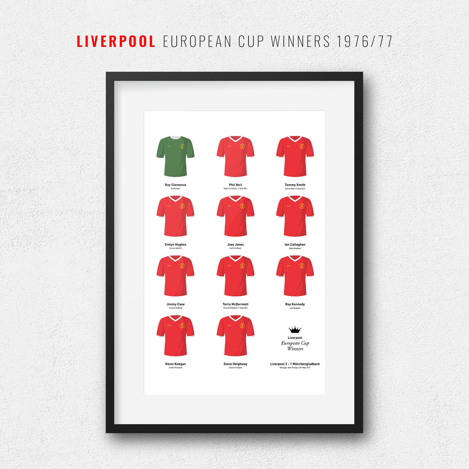 Liverpool 1977 European Cup Winners Football Team Print - Good Team On Paper