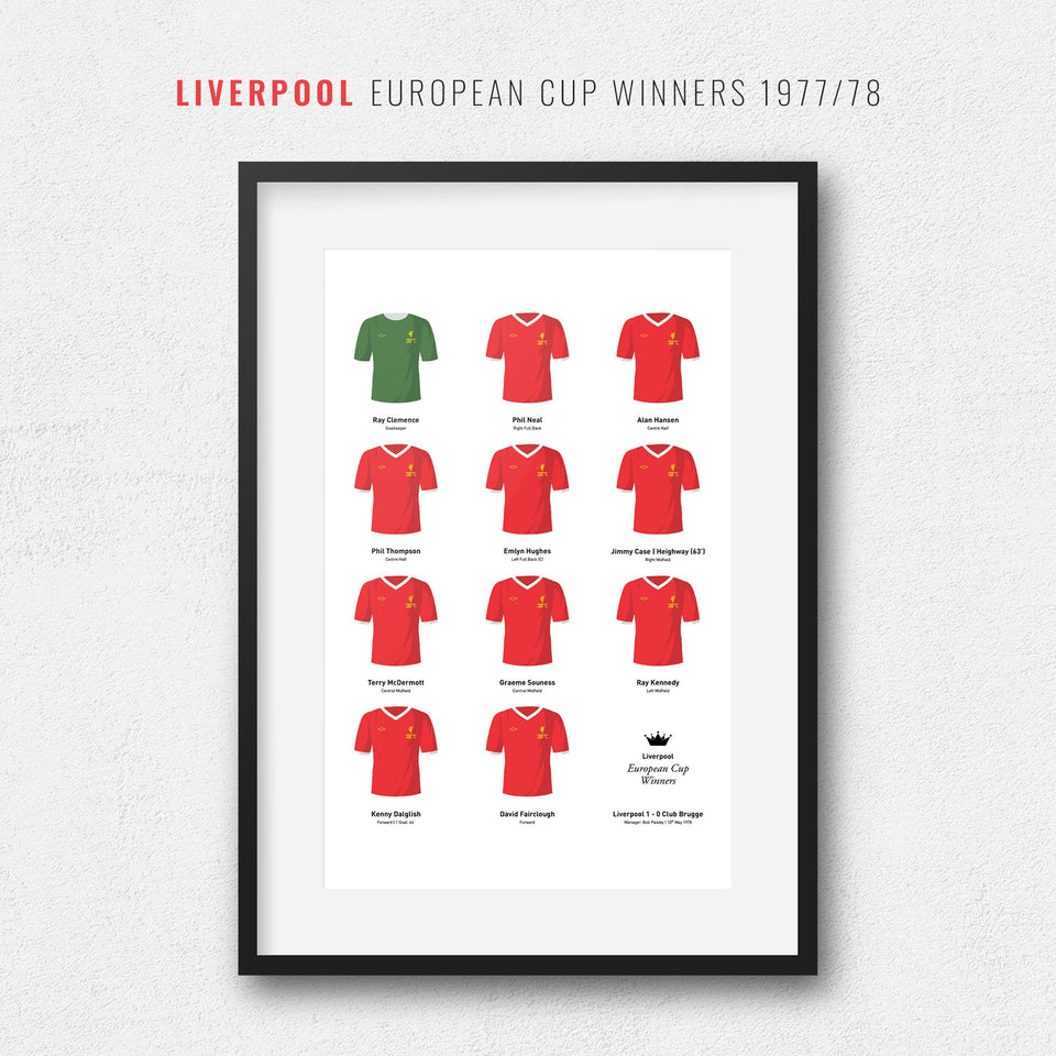 Liverpool 1978 European Cup Winners Football Team Print