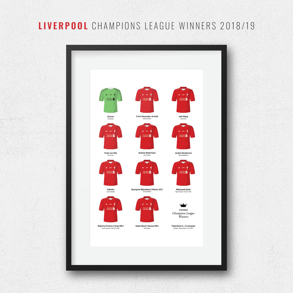Liverpool 2019 Champions League Winners Football Team Print
