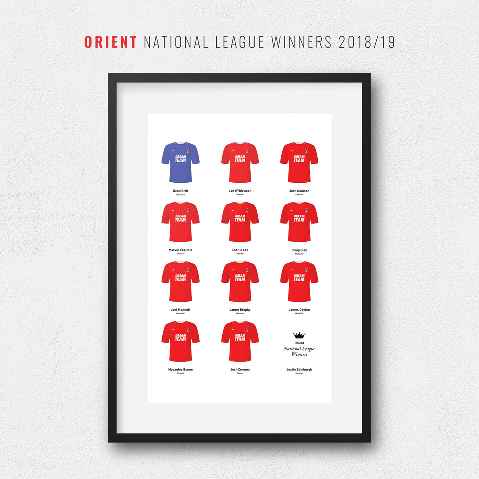 Orient 2019 National League Winners Football Team Print - Good Team On Paper