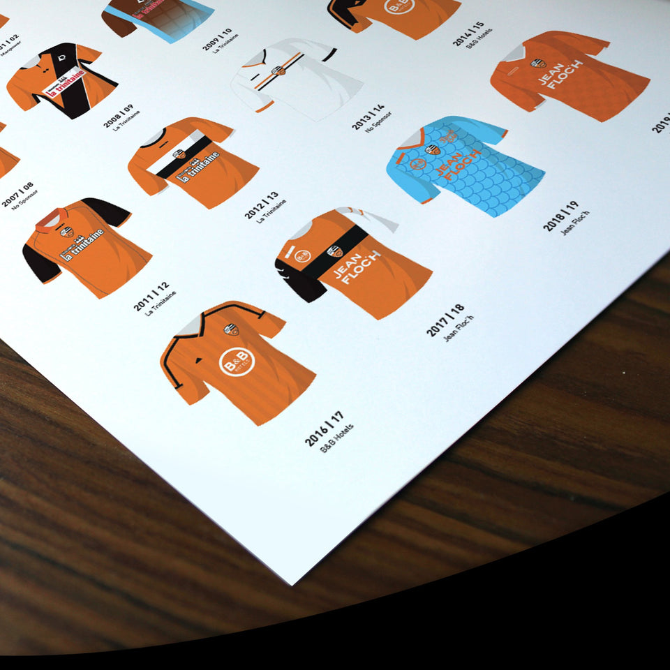 Lorient Classic Kits Football Team Print - Good Team On Paper