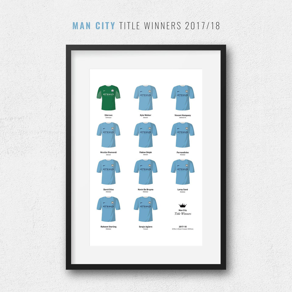 City 2018 Title Winners Football Team Print