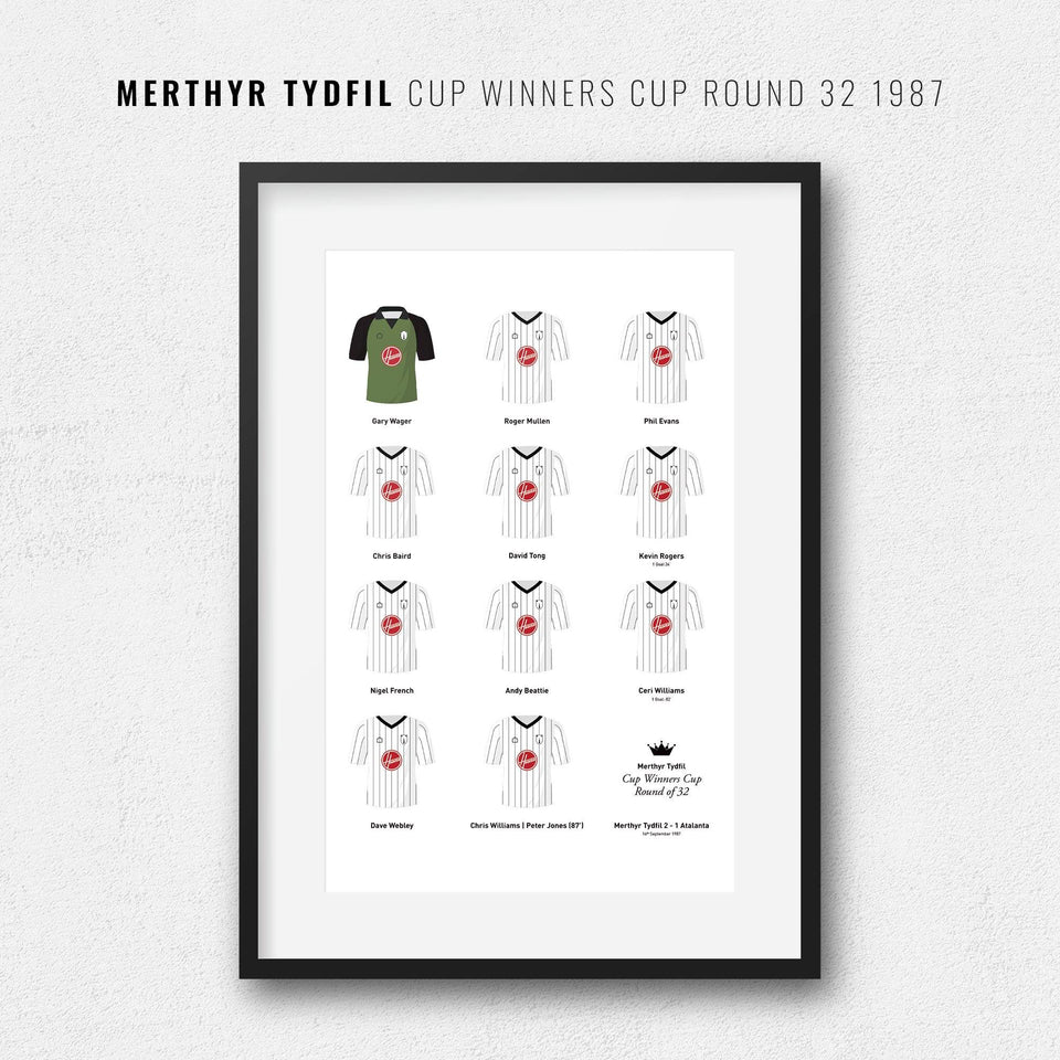 Merthyr Tydfil 1987 Cup Winners Cup Round of 32 Football Team Print