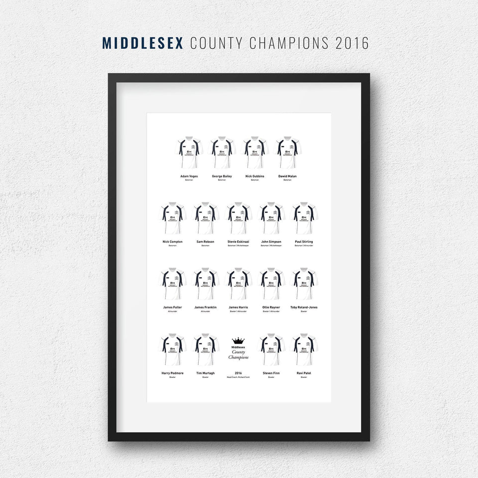 Middlesex Cricket 2016 County Champions Team Print