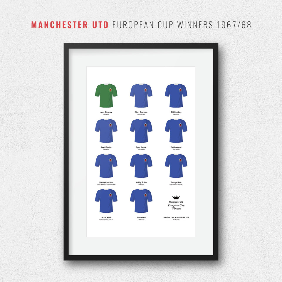 Manchester Utd 1968 European Cup Winners Football Team Print