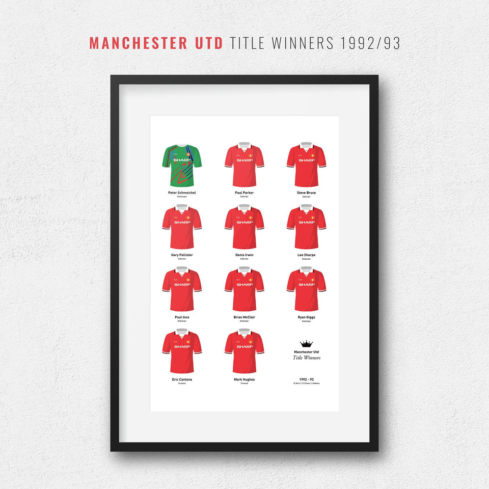 Manchester Utd 1993 Title Winners Football Team Print - Good Team On Paper