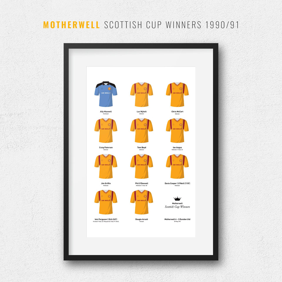Motherwell 1991 Scottish Cup Winners Football Team Print - Good Team On Paper