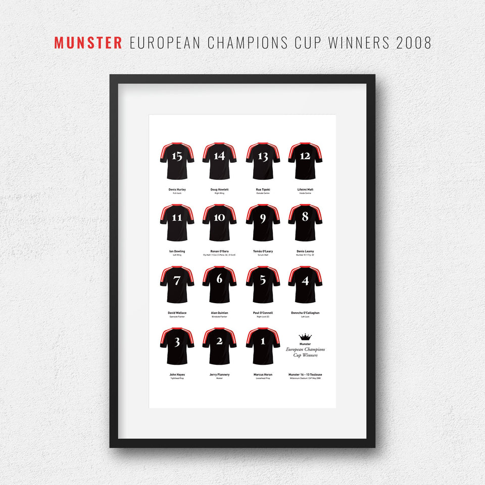 Munster Rugby Union 2008 European Champions Cup Winners Team Print - Good Team On Paper