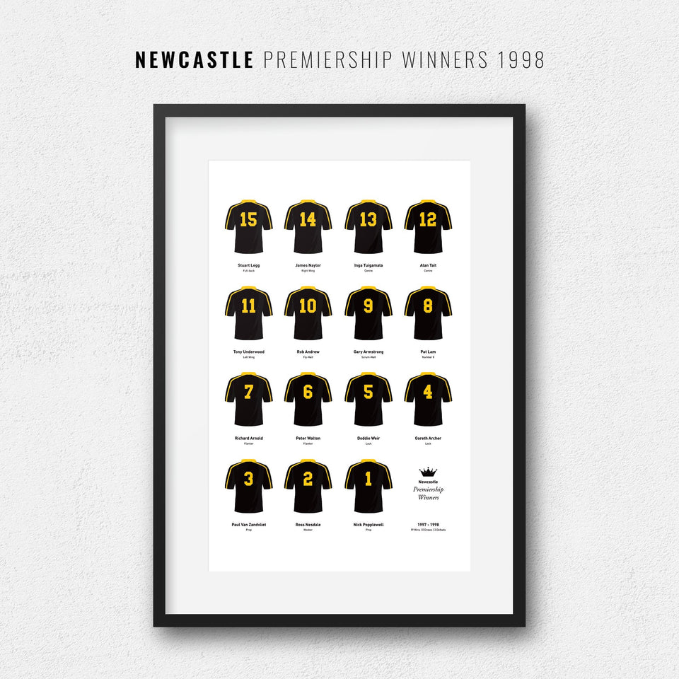Newcastle Rugby Union 1998 Premiership Winners Team Print - Good Team On Paper
