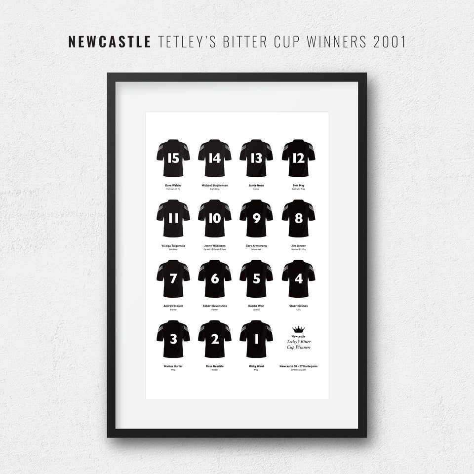 Newcastle Rugby Union 2001 Tetley's Bitter Cup Winners Team Print - Good Team On Paper