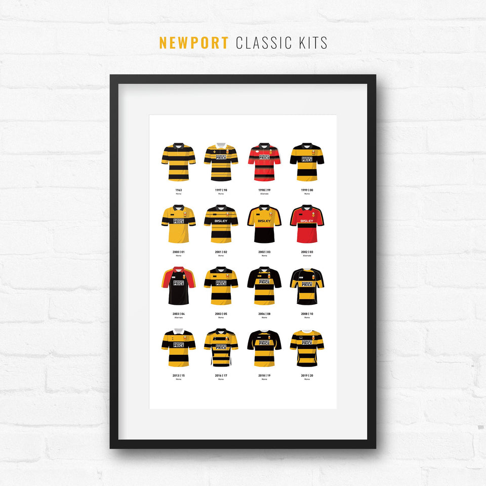 Newport Classic Kits Rugby Union Team Print - Good Team On Paper