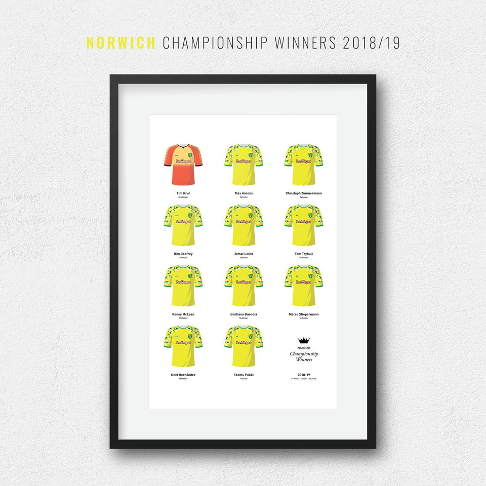 Norwich 2019 Championship Winners Football Team Print - Good Team On Paper