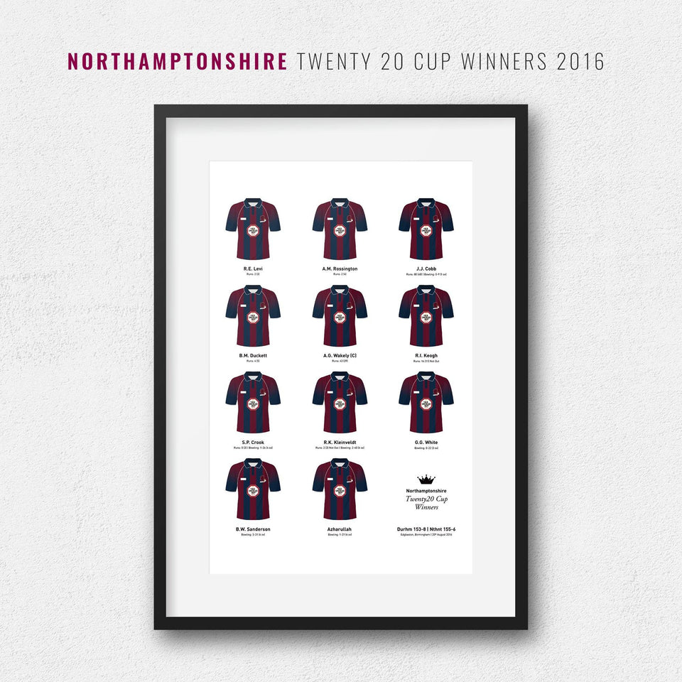 Northamptonshire Cricket 2016 Twenty20 Cup Winners Team Print