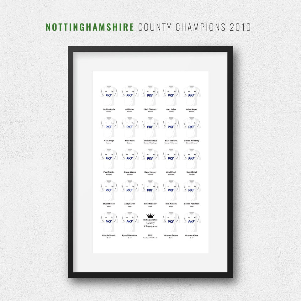 Nottinghamshire Cricket 2010 County Champions Team Print