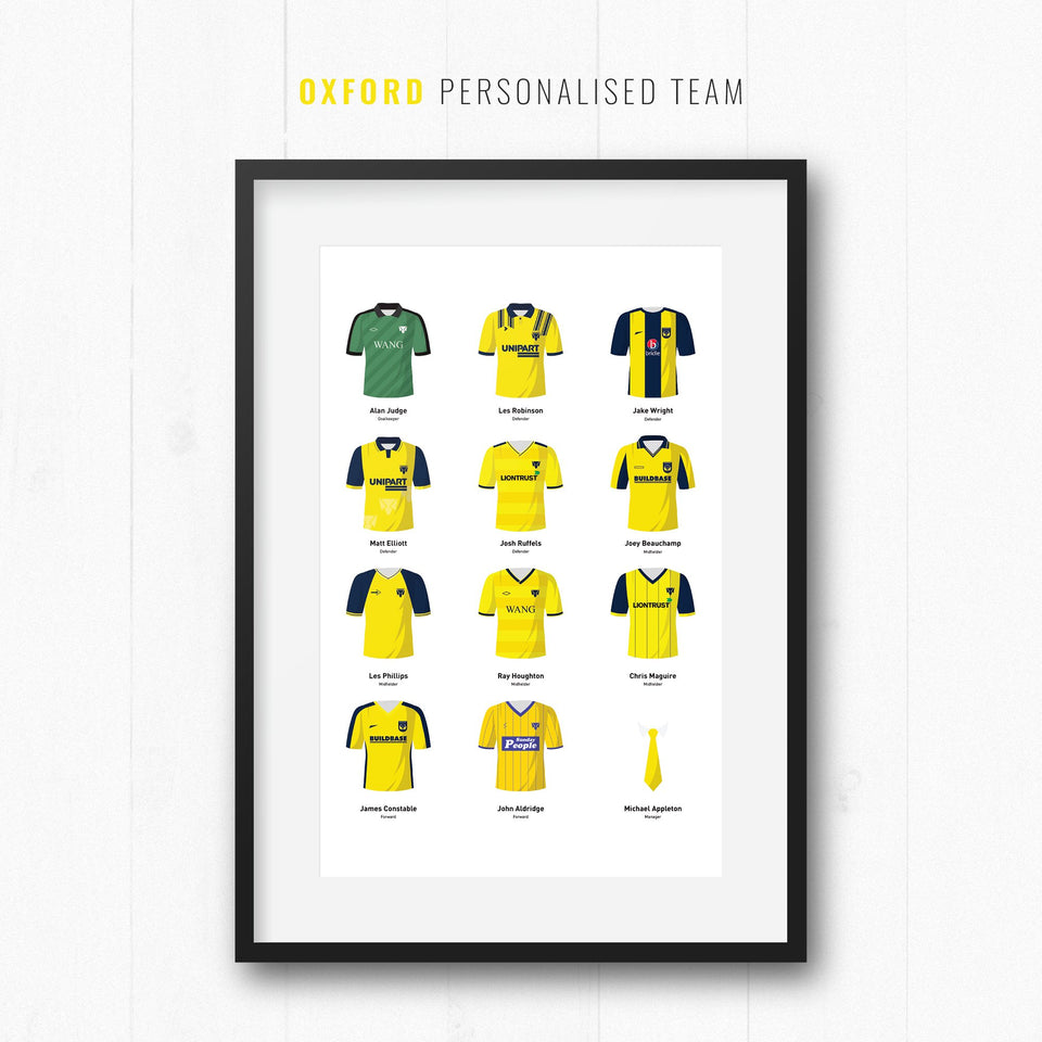 PERSONALISED Oxford Football Team Print - Good Team On Paper