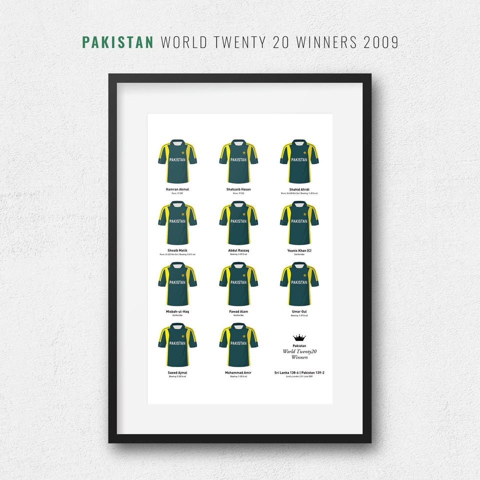 Pakistan Cricket 2009 World Twenty20 Winners Team Print