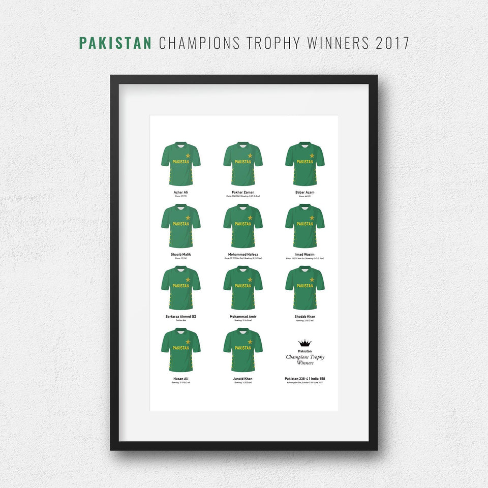 Pakistan Cricket 2017 Champions Trophy Winners Team Print