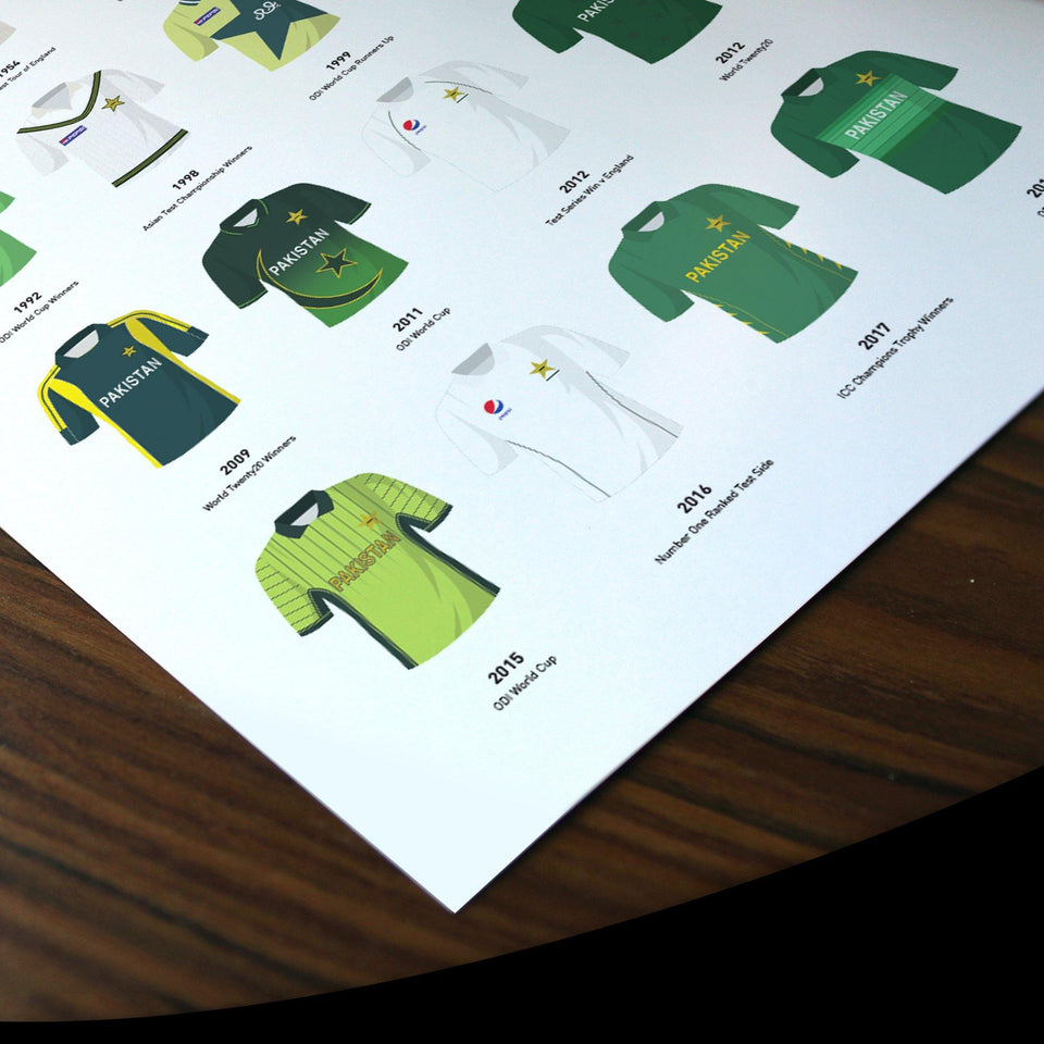 Pakistan Classic Kits Cricket Team Print