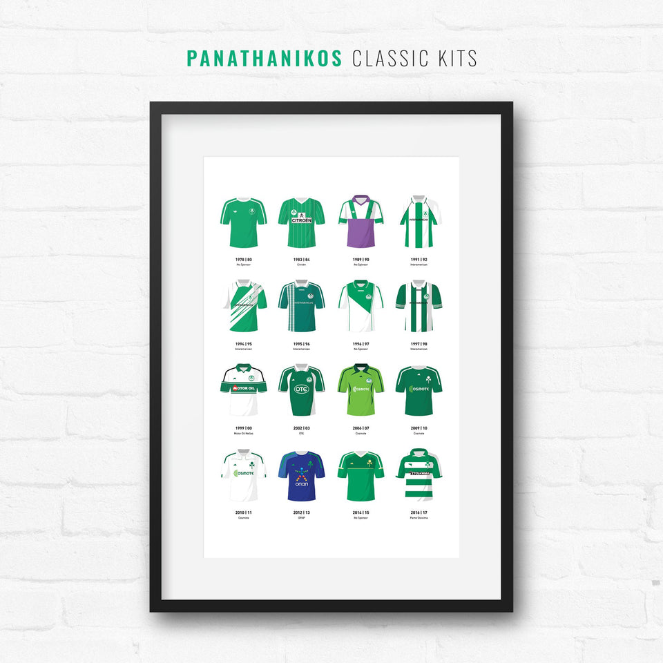 Panathinaikos Classic Kits Football Team Print - Good Team On Paper