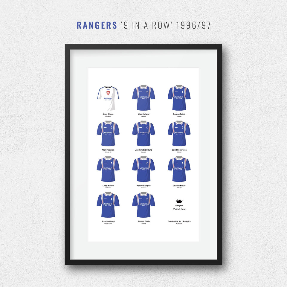 Rangers 1997 'Nine In a Row' Football Team Print