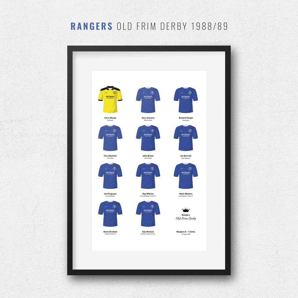 Rangers 1988 'Old Firm Derby' Football Team Print - Good Team On Paper