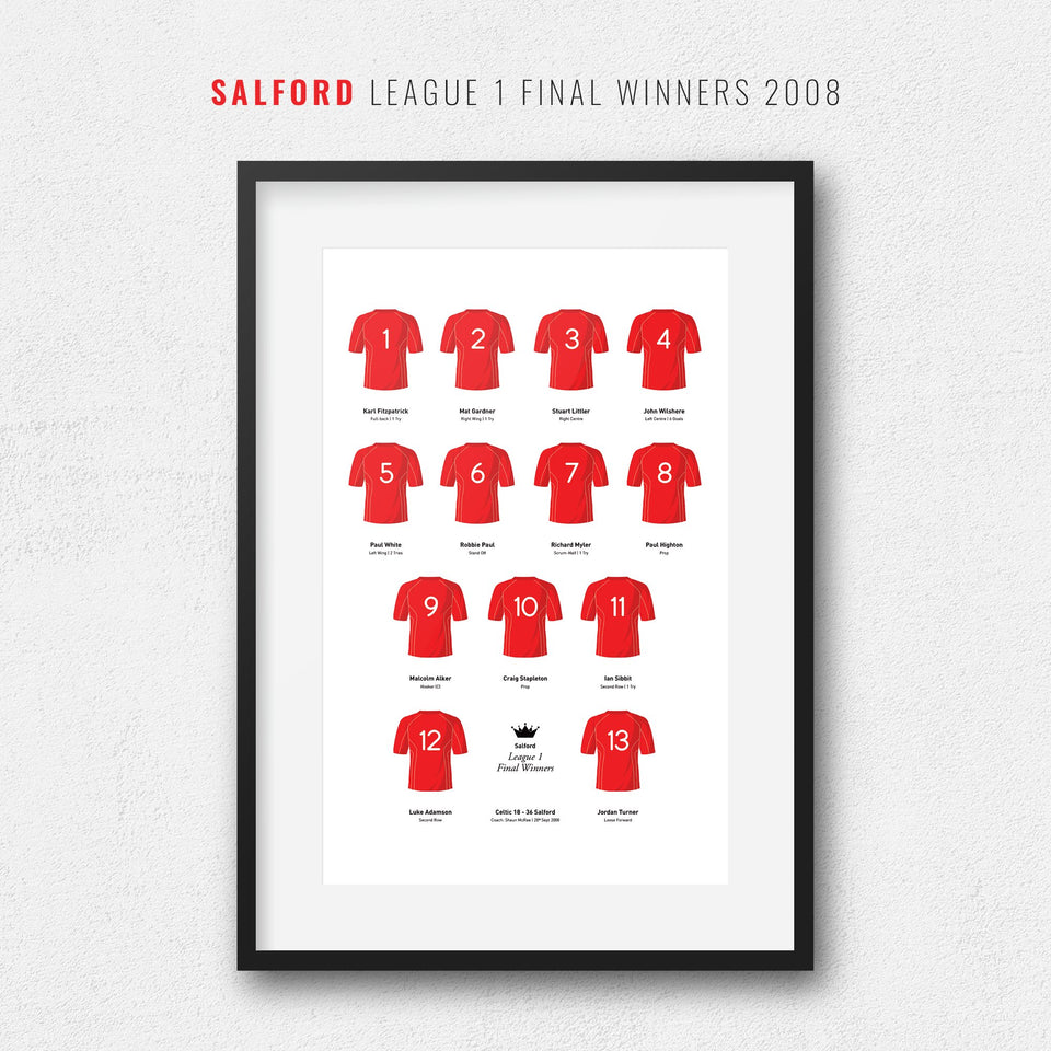 Salford Rugby League 2008 League 1 Final Winners Team Print - Good Team On Paper