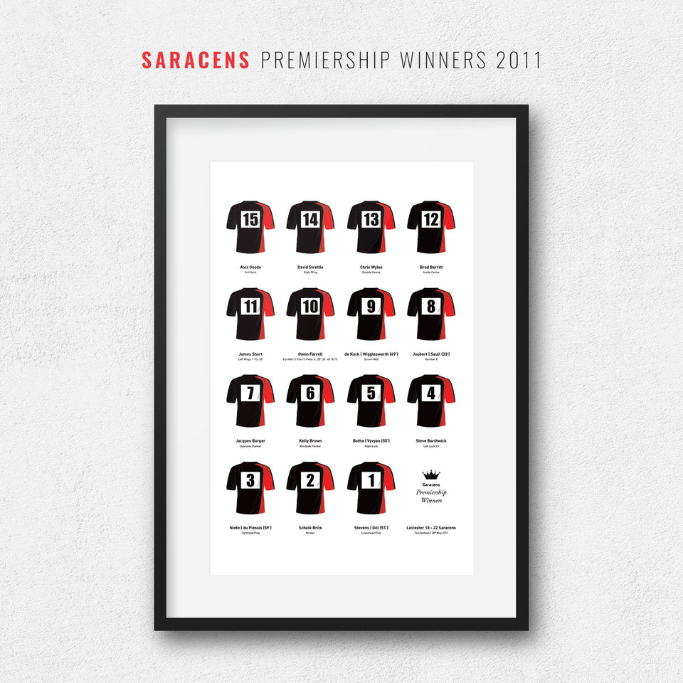 Saracens Rugby Union 2011 Premiership Winners Team Print - Good Team On Paper