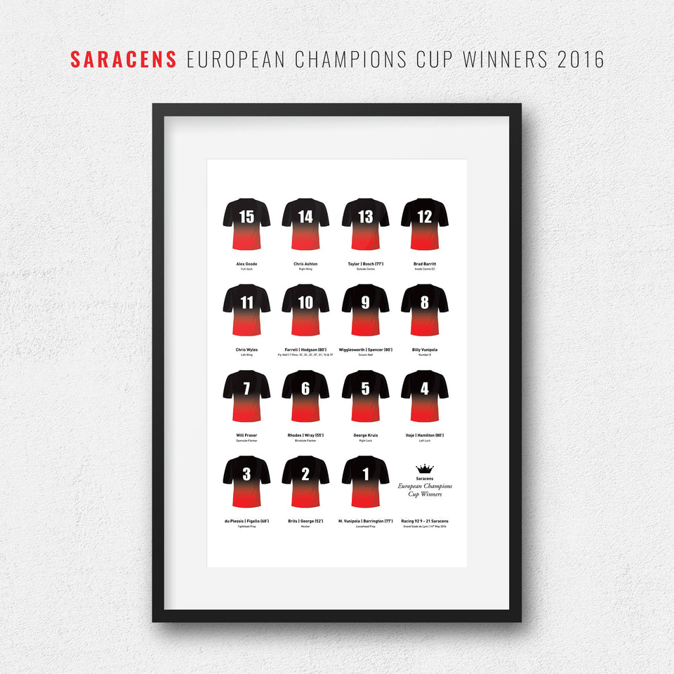 Saracens Rugby Union 2016 European Champions Cup Winners Team Print - Good Team On Paper