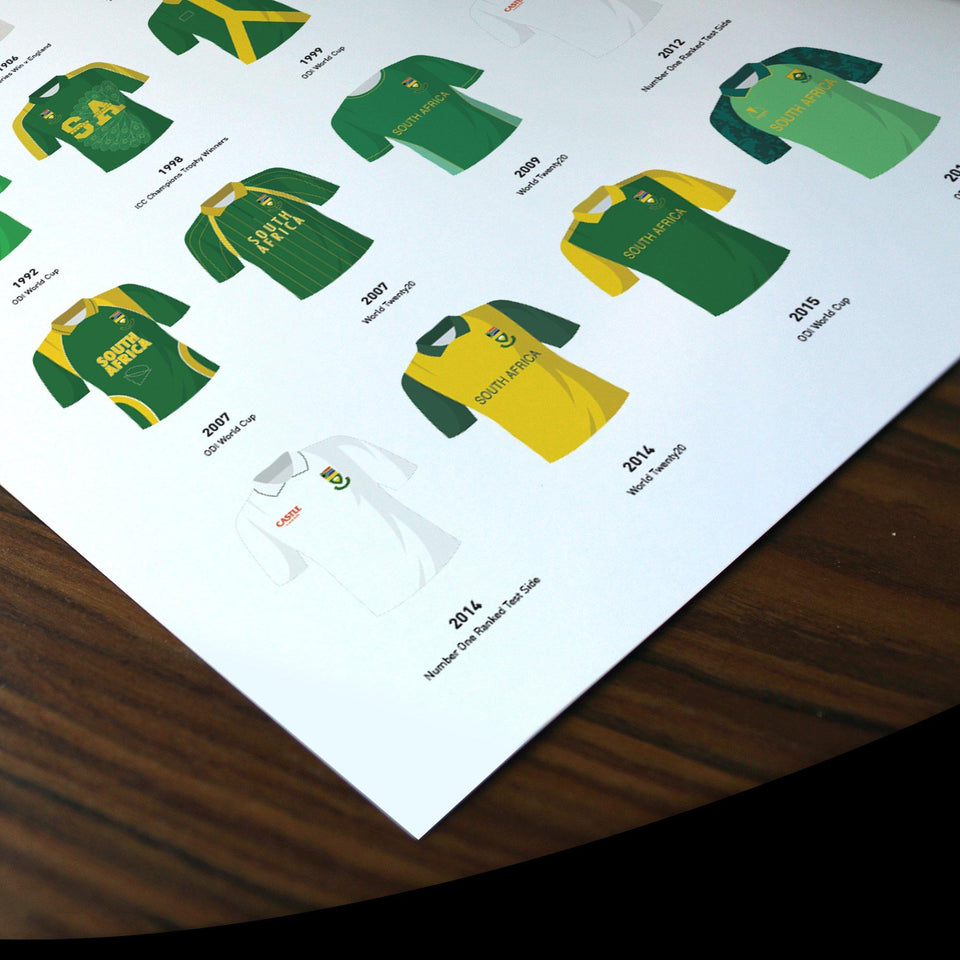 South Africa Classic Kits Cricket Team Print